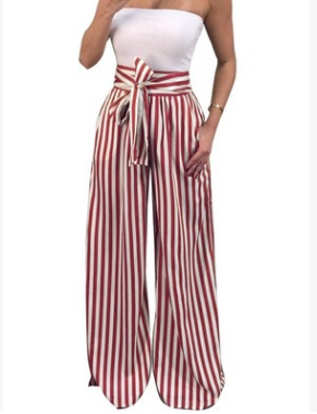 Women Sexy Striped Wide Leg Pants