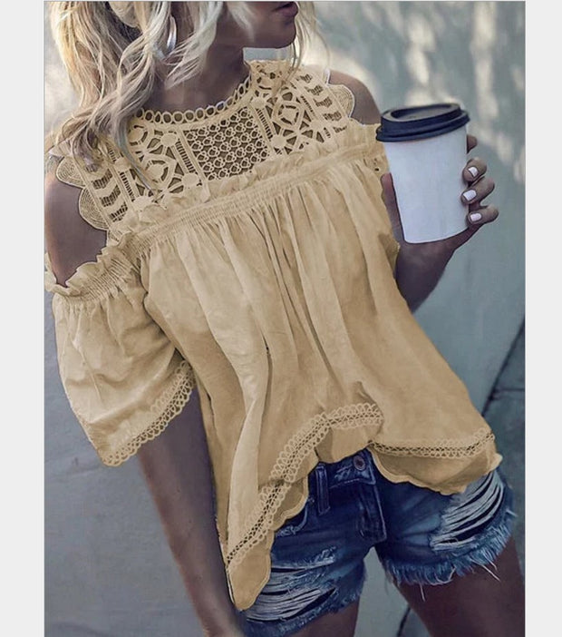 Women Round Neck Cold-shoulder Lace Blouse