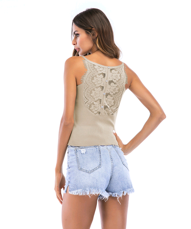 V-neck Slim Sleeveless Knit Vest Female Summer Flower Lace Paneling Sling
