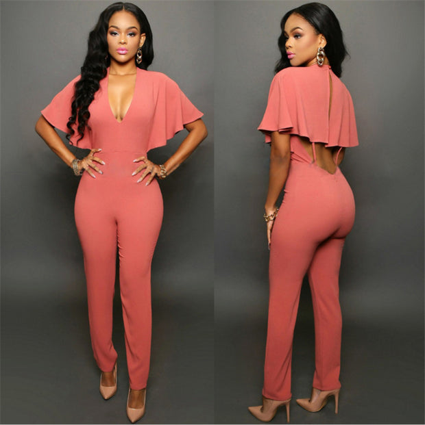 Cape Shoulder V-neck Casual Jumpsuit