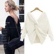 Large neckline V-neck halter head retro solid color sweater two wearing bat sweater coat