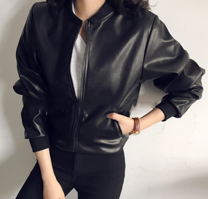 Autumn New Slim-fitting Leather PU Motorcycle Jacket