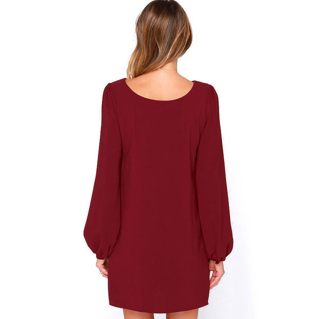 Sexy long-sleeved dress European and American fashion loose skirt Slim