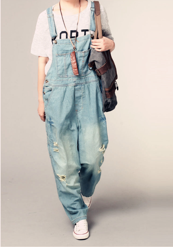 Ripped Light Wash Denim Overalls