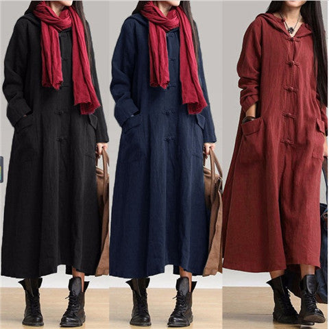 Vintage cotton linen hooded gown long dress dress windbreaker jacket