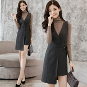 Irregular Wrapped Mini Dress With Belt