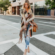 Fringed sweater knit shirt shoulder coat