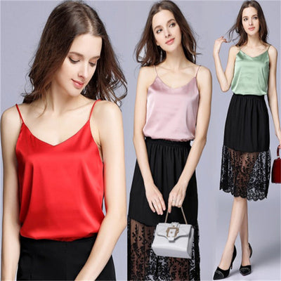 Simulation silk satin camisole V-neck large size slimming women's inside