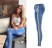 European and American women's low waist slim double side metal color embroidered sequins elastic denim pants