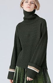Olive High-necked Stripe Loose Sweater