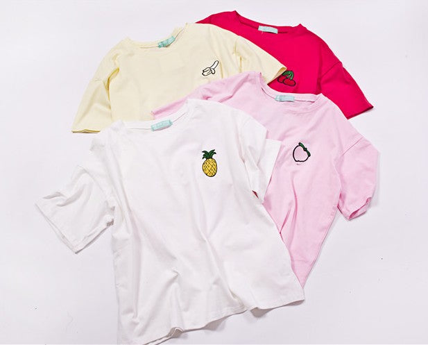 4 tee shirts fruits
