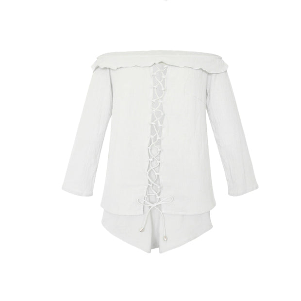 Women Off-shoulder Cropped Blouse and Shorts Suit