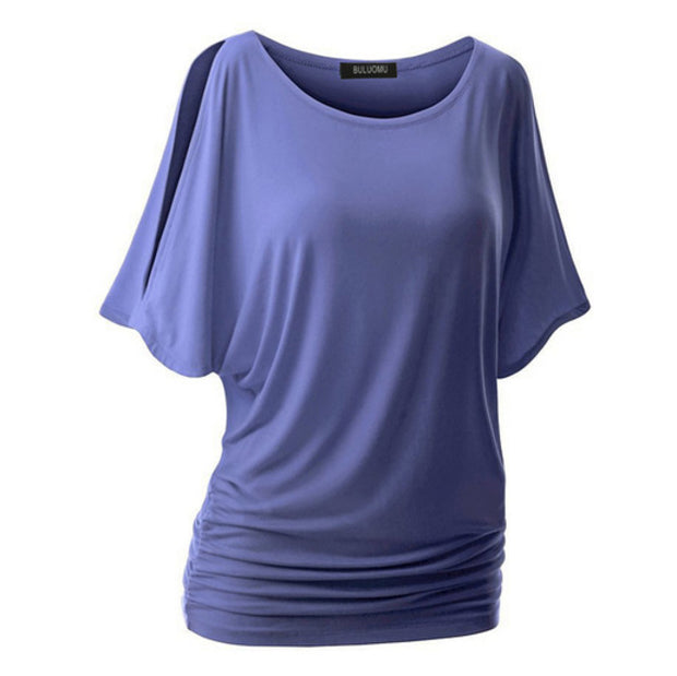 Oversized Solid Color Round Neck T-shirt