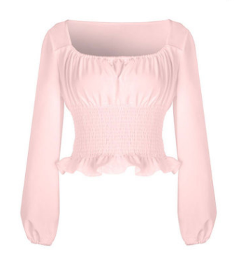 Long Sleeve U-neck elastic Blouse Tops