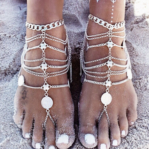 Vintage Punk Multilayer Tassels Footchain