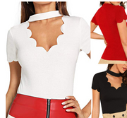Fan-shaped cut V-neck short-sleeved sexy T-shirt top
