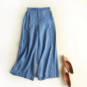 Women Pop Elastic Waist Wide Leg Pants.