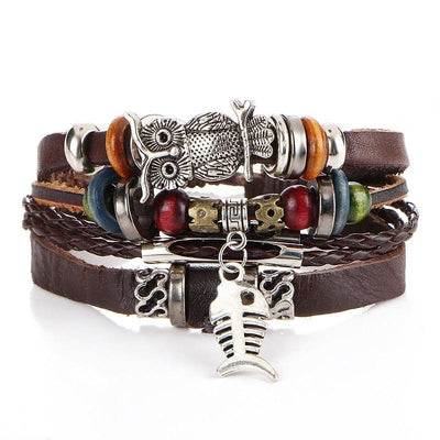 New beaded fish bone owl color stone leather multi-layer bracelet retro punk bracelet
