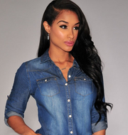 Vintage washed women's long-sleeved denim shirt