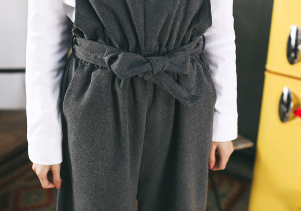 College style loose Korean version of the pants trousers wide leg bib casual high waist pants
