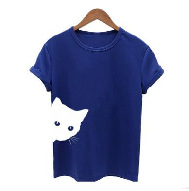 Cat Pattern Print Round Neck  T-shirt