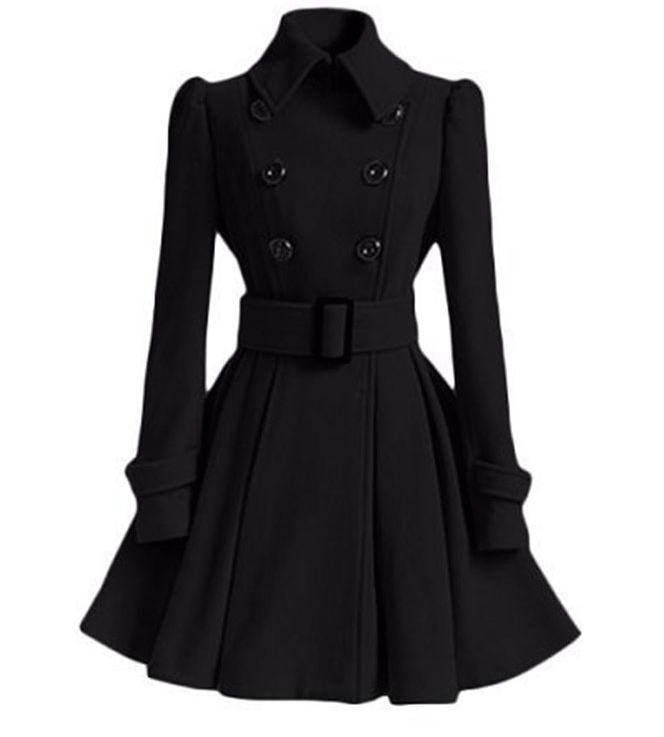 Lapel Collar Double-breasted Woolen Belted Coat