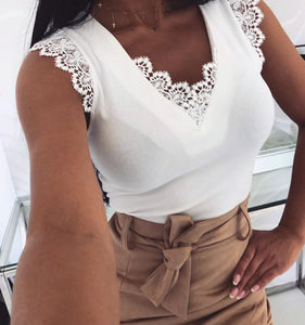 Lace Trimmed Deep V-neck Tops