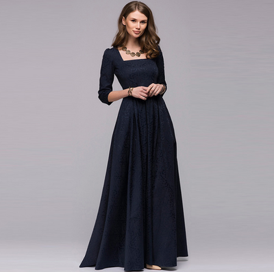 Europe and the United States long Hepburn dress big swing dress evening dress long skirt banquet party Russian dress