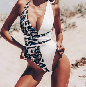 Leopard Print Color Block One-piece Swimsuit