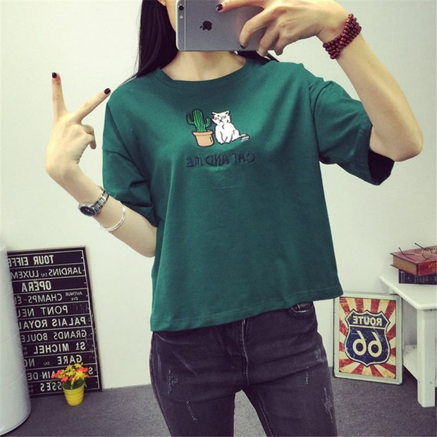 Pretty Harajuku t shirt women Korean style t-shirt tee kawaii cat embroidery cotton tops shirt camiseta feminina