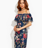 Navy Blue Off the Shoulder Summer Midi Dress