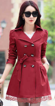 Women Casual Trending Long Coat With Lace Hem