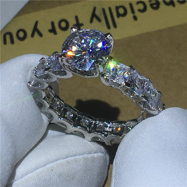 Choucong Unique Design Promise ring 1ct AAAAA Cz Zircon 925 Sterling Silver Engagement Wedding Band Rings for women men Jewelry