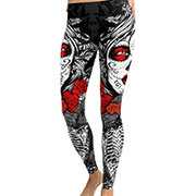 Large size skull print tattoo tight pants Halloween pants