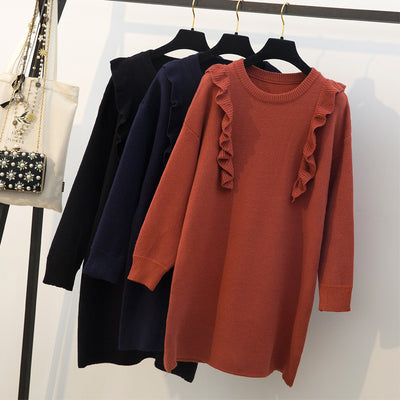 Real shot large size women's fat mm autumn and winter Korean version of the wooden ear sweater sweater skirt fat sister was thin long-sleeved sweater