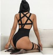 Autumn and winter ins new hot black five-pointed star hollow back hooded jumpsuit women