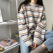 Crew-neck Striped Knit Loose Sweater