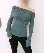 Long-sleeved sexy Stand collar Blouse