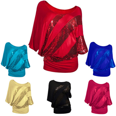 BHflutter New Women Blouse Shirt Batwing Shiny Sequined Cotton Casual Blouses Women Summer Tops Blusas Plus Size S-3XL