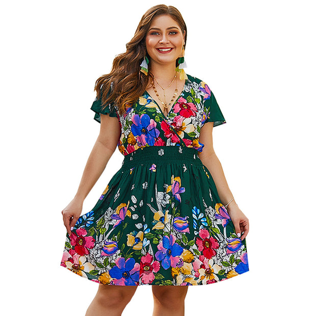 Plus Size Floral Print Wrap Mini Dress
