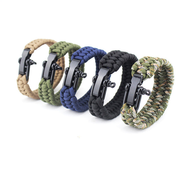 Seven-core umbrella rope braided U-shaped steel buckle with adjustable survival bracelet Outdoor mountaineering camping emergency rescue bracelet