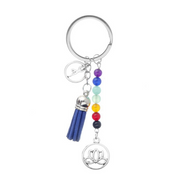 Fashion Cute Healing Crystal Stone Tassel Key Chain