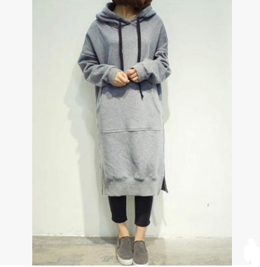 Solid Oversized Long Sleeved Hoodie Shirt