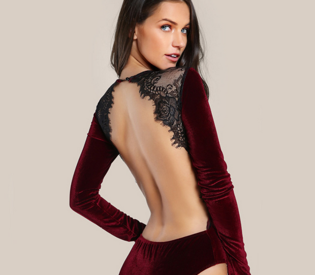 Backless Lace Designed Hot Bodysuit