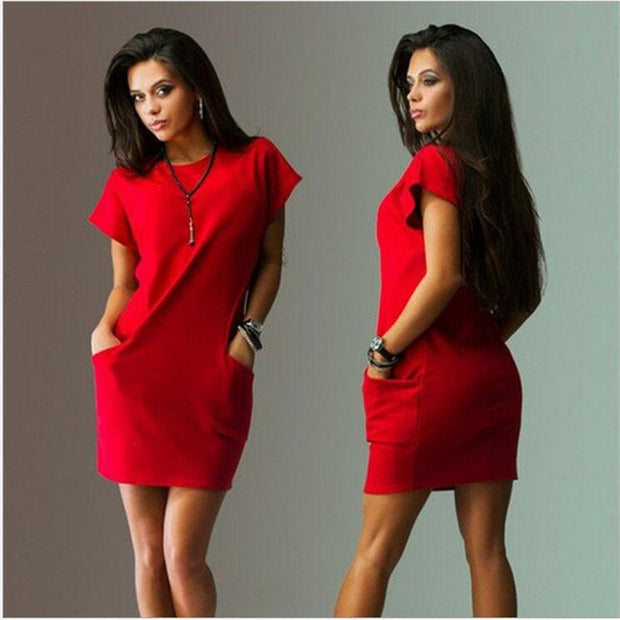Casual Short Sleeve O-Neck Mini Dress