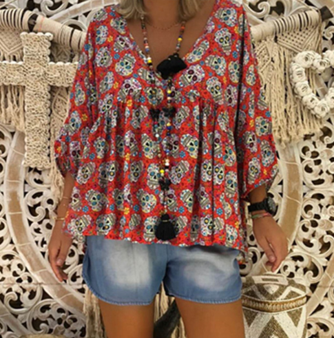 Floral printed nine-point sleeve shirt