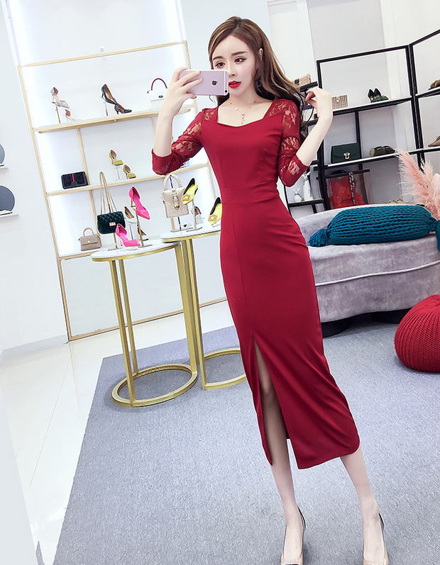 Long Sleeve Chic High Slit Bodycon Dress