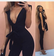 2018 European and American women's new thickening sleeveless sexy deep V with solid color one-piece trousers