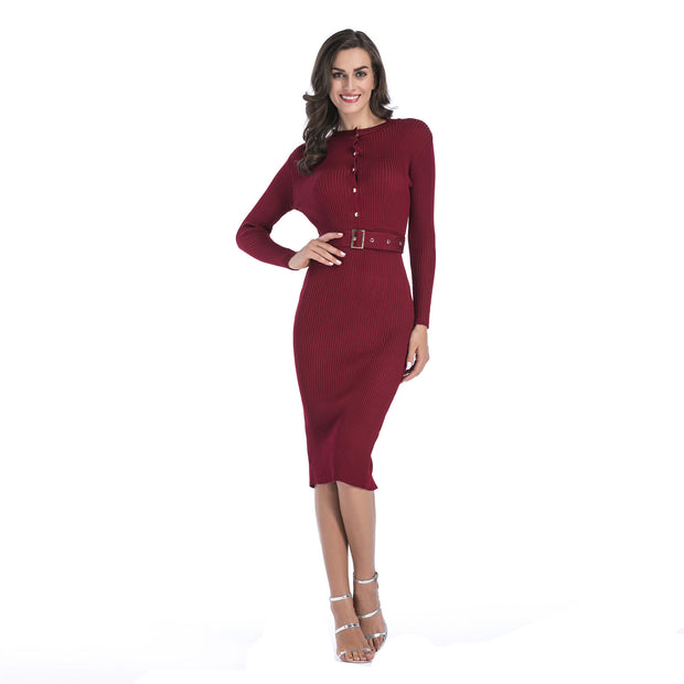 Long-sleeved knitted Slim sexy Bodycon Dress