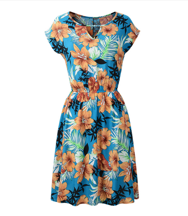 Women Summer Round Neck Floral Homecoming Dress